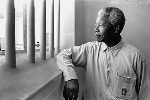 Nelson Mandela in cell